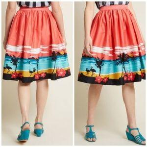 NWT Modcloth Aloha Hawaiian Swing Skirt  RARE